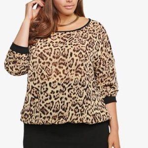 Torrid Plus Size Leopard Print Sheer Sweater